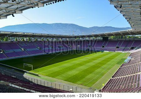 Editorial: Stade de Ganeve, Thailand, 18th July 2012. Stade de Ganeve also called Stade de Servette, is a football stadium in Geneva Switzerland.