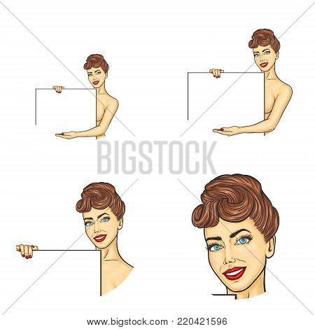 Vector set of female round avatar icons in pop art style. Sexy, smiling, naked woman with blue eyes, brown hair, red lips and nails, holds blank sheet or banner and points hand at empty place for text