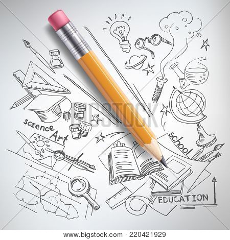 Vector realistic pencil on paper with sketch creative education, science, school hand drawn doodles symbols. Concept of idea, study, research and development. White background illustration