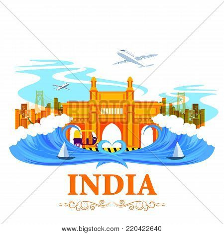 vector illustration of famous monument Gateway of India on tricolor Indian background