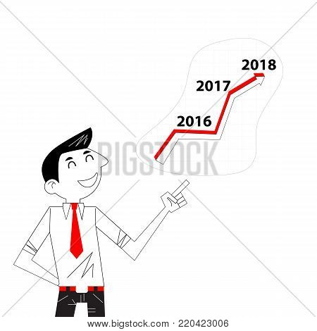 Achievement,Success and Growth concept.Businessman and stock market arrow presentation.Cheerful businessman with graph indicating increase.The concept of business success.Business vector concept illustration