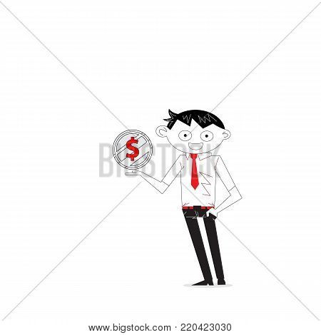 Accomplishment or achievement Concept.Manager,Office Worker or businessman with the golden coins on his hand.Concept of business success.Business vector concept illustration