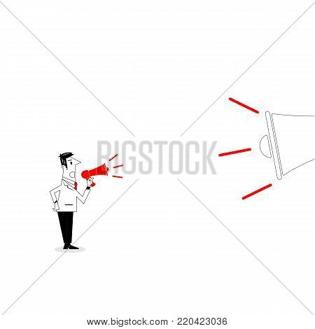 Manager,Office Worker or businessman holding small megaphone with big megaphone on background.Businessman on megaphone make an announcement.Business vector concept illustration