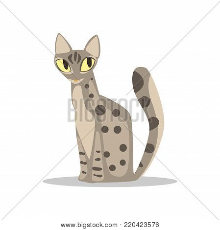 Cute gray short-haired cat with spotted body, yellow eyes and long tail. Cartoon character of domestic animal. Flat vector illustration isolated on white. Design for sticker, poster or t-shirt print.