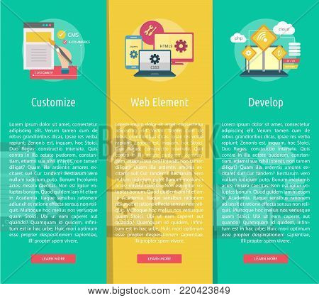 Web Maintenance Vertical Banner Concept | Set of great flat design illustration concepts for web, maintenance, internet, network and much more.