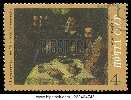 USSR - circa 1972: Stamp printed by USSR, Color edition on art, shows painting Breakfast by Velazquez, circa 1972