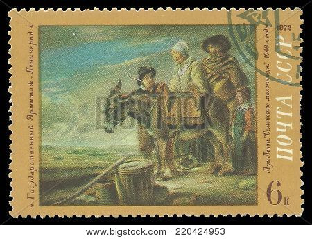 USSR - circa 1972: Stamp printed by USSR, Color edition on art, shows painting The Milkmaid's Family by Louis Le Nain, circa 1972