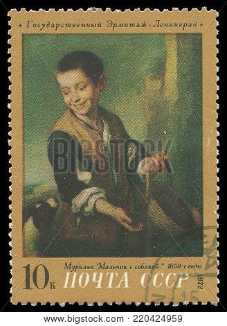 USSR - circa 1972: Stamp printed by USSR, Color edition on art, shows painting Boy with a dog by Esteban Murillo, circa 1972