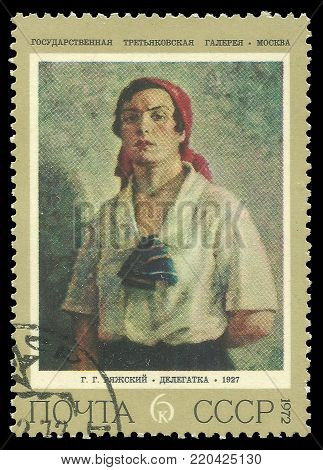 USSR - circa 1972: Stamp printed by USSR, Color edition on art, shows painting Delegate by Rjashskij, circa 1972