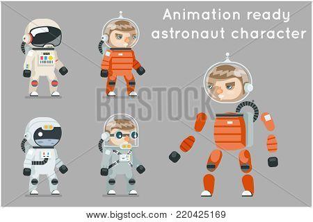 Cosmonaut Astronaut Spaceman Space Sci-fi Icons Set Animation Ready Cartoon Game RPG Flat Design Vector Illustration
