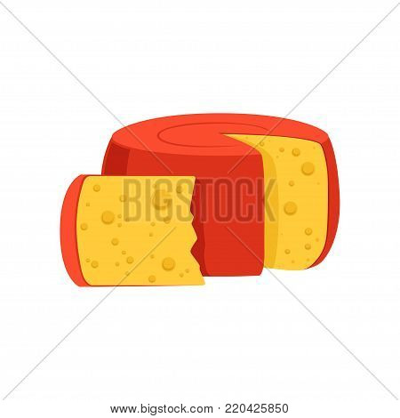 Rounded cylinder Holland Edam cheese covered with red wax. Gourmet food concept. Dairy product. Flat design for promotional poster or banner of grocery store. Vector illustration isolated on white.