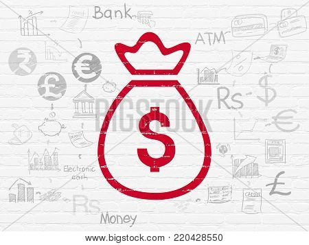 Money concept: Painted red Money Bag icon on White Brick wall background with Scheme Of Hand Drawn Finance Icons
