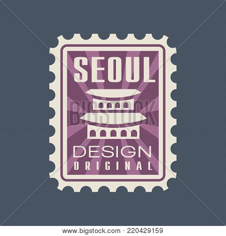 Creative Seoul city postmark with Gyeongbokgung Palace. South Korea landmark icon with caption. Travel concept. Flat graphic design in purple color. Vector illustration isolated on blue background.