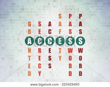 Privacy concept: Painted green word Access in solving Crossword Puzzle on Digital Data Paper background