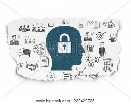 Business concept: Painted blue Head With Padlock icon on Torn Paper background with  Hand Drawn Business Icons