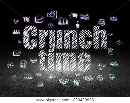 Business concept: Glowing text Crunch Time,  Hand Drawn Business Icons in grunge dark room with Dirty Floor, black background