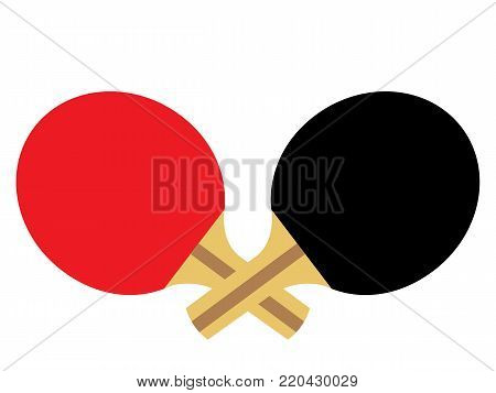 Vector illustration of two table tennis ping pong paddles
