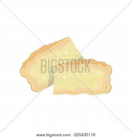 Two pieces of soft Brie cheese from cow s milk. Cooking or healthy food concept. Organic dairy product. Flat design for menu, book or promo flyer. Vector illustration isolated on white background.