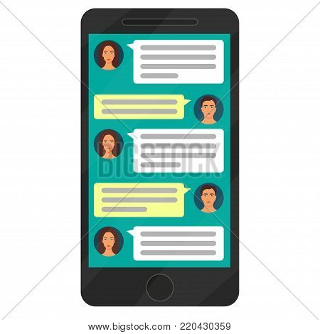 Dialogue Men And Women In The Messenger On The Smartphone Screen. Modern Smartphone With Messenger A