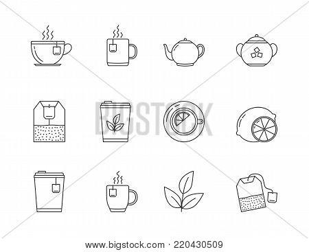 12 Tea line icons - tea bags, tea cups and mugs, leaves, lemon, sugar, teapot, vector eps10 illustration