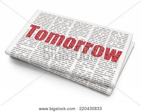 Timeline concept: Pixelated red text Tomorrow on Newspaper background, 3D rendering