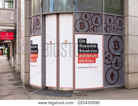 Zurich, Switzerland - 1 January, 2018: entrance to the office of the Swissquote Bank on Lowenstrasse street. The Swissquote Group Holding SA is a Swiss banking group specializing in the provision of online financial and trading services.