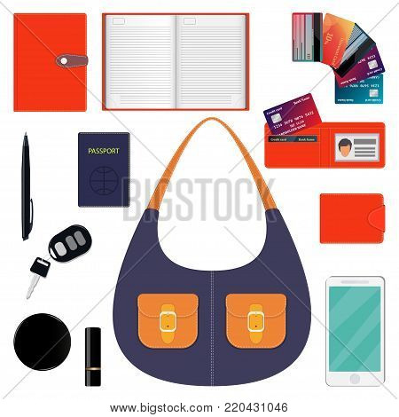 Woman S Handbag And Contents. Diary, Wallet, Bank Cards, Pen, Smartphone, Passport, Car Keys, Lipsti