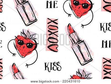 Hand drawn vector abstract graphic fashion seamless pattern with pop art funny strawberry character, lipstick in pink and red colors isolated on white background.Summer time decoration.