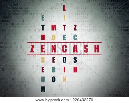 Cryptocurrency concept: Painted red word Zencash in solving Crossword Puzzle on Digital Data Paper background