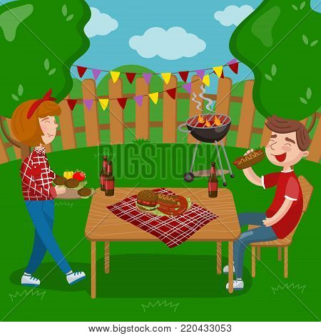 Young people cooking and eating bbq while sitting in the garden, barbecue party in holiday cartoon vector Illustrations on a white background