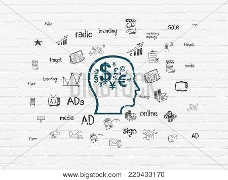 Marketing concept: Painted blue Head With Finance Symbol icon on White Brick wall background with  Hand Drawn Marketing Icons