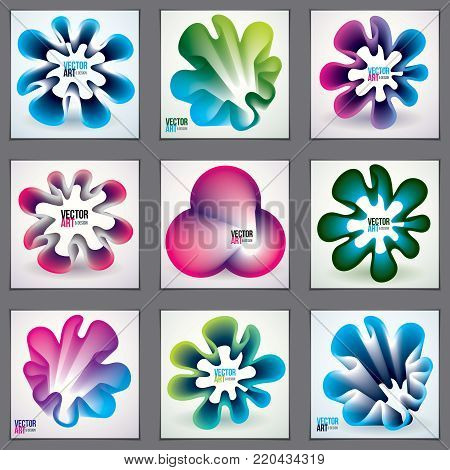 Vector of modern abstract shapes, 3d flower shape gradients set. 3d flower shape, vector abstract art. Perfect for gift card,cover,poster or brochure. Bright color wave dimensional object.