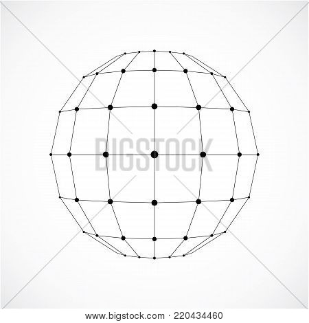 3d vector digital wireframe spherical object made using facets. Geometric polygonal monochrome structure created with lines mesh and squares. Low poly shape, lattice form for use in web design.