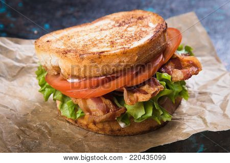 sandwich with fried bacon, lettuce and tomato in slices of bread