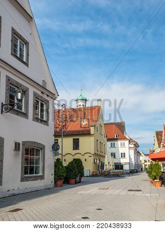 Memmingen, Germany - May 29, 2016: Street view in front of the Hotel Weisses Ross in Memmingen, Bavaria, Germany, Europe.