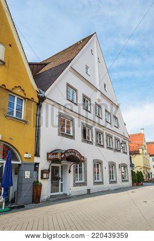 Memmingen, Germany - May 29, 2016: Hotel Weisses Ross in Memmingen, Bavaria, Germany, Europe.