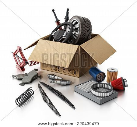 Auto spare parts standing on white background. 3D illustration