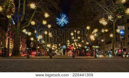 Sloane Square in London,UK with Christmas lights.