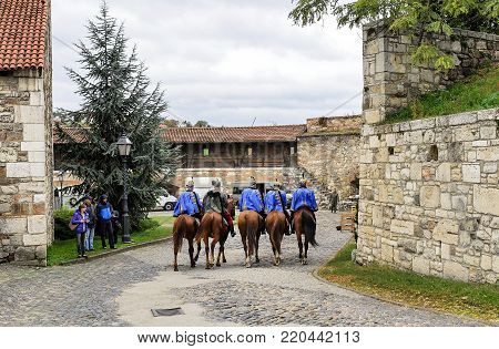 BUDAPEST, HUNGARY- 28 OCTOBER 2017: Cavalry in the Royal Palace of Budapest.