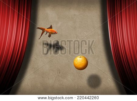 Surreal stage with golden fish and orange fruit. Symbolism - Wishes and Promises. 3D rendering