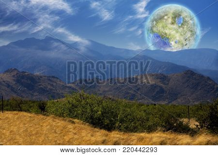 Mountain Vista. Terraformed moon seen from the Earth. 3D rendering