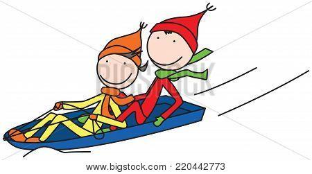 Illustration of two happy kids sledding in winter