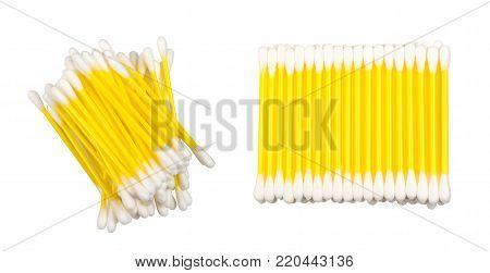 Yellow Cotton Swab Isolated on White Background. Buds with Wool Fibers Closeup. Photo view from above