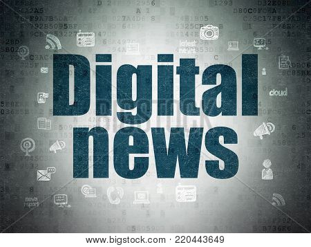 News concept: Painted blue text Digital News on Digital Data Paper background with  Hand Drawn News Icons