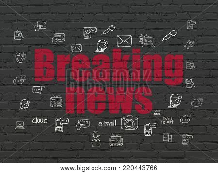 News concept: Painted red text Breaking News on Black Brick wall background with  Hand Drawn News Icons