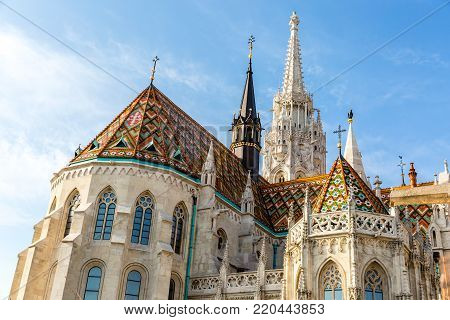 Matthias Church, Roman Catholic church located in Budapest Hungary in front of the Fishermans Bastion at the heart of Buda castle district.