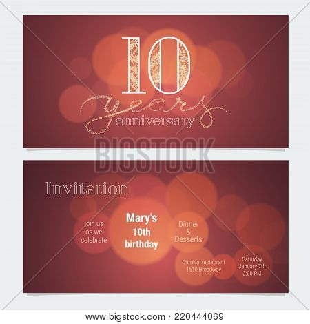 10 years anniversary invitation to celebration vector illustration. Graphic design element with bokeh effect for 10th birthday card, party invite