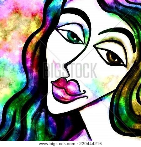 Colorful grunge portrait of a woman's face with a forlorn expression.