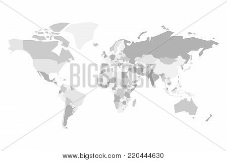 Blank political map of World. Simplified vector map in four shades of grey.
