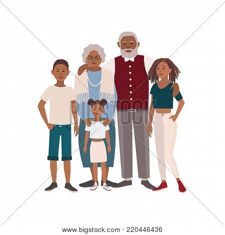 Happy African American family portrait. Grandmother, grandfather and their grandchildren standing together. Beautiful flat cartoon characters isolated on white background. Vector illustration
